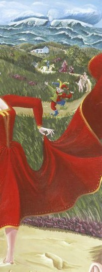 """Udsnit af maleri """"Den Røde Dame"""" af Kristine Frøkjær"""